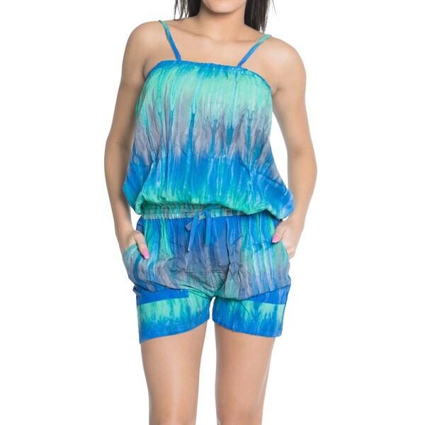 La Leela Jumpsuit Stretchy Tie Dye Rayon Women Beach Playsuit Romper Blue S/M