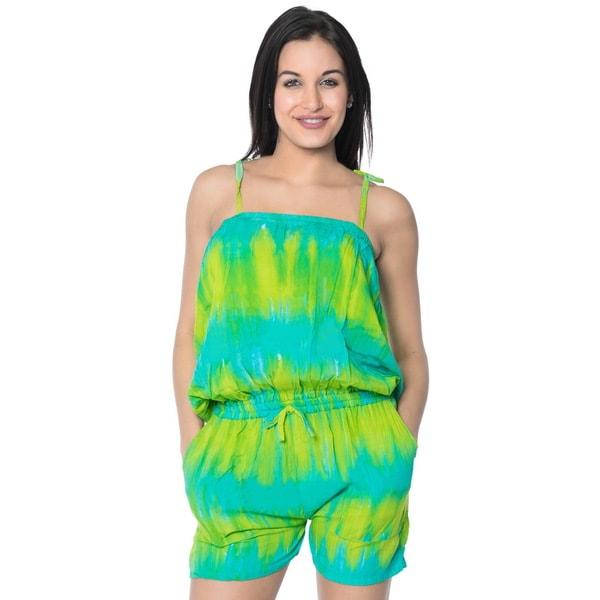 La Leela Jumpsuit Stretchy Tie Dye Rayon Women Playsuit Romper Turquoise S/M
