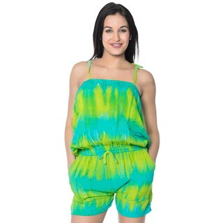 La Leela Jumpsuit Stretchy Tie Dye Rayon Women Playsuit Romper Turquoise L/XL