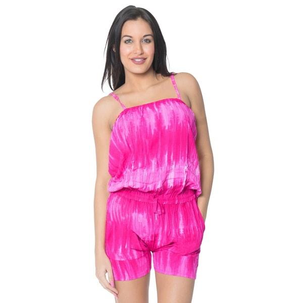 La Leela Plus Romper Jumpsuit Stretchy Tie Dye Beach Rayon Women Playsuit S/M