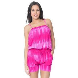 La Leela Plus Romper Jumpsuit Stretchy Tie Dye Beach Rayon Women Playsuit L/XL
