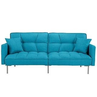 Modern Plush Tufted Linen Fabric Splitback Living Room Sleeper Futon