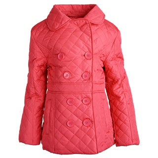 Urban Republic Girls' Padded Quilted Spring Jacket With Knit Detachable Hood