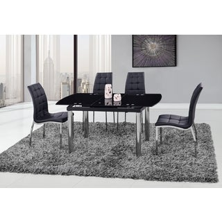 Global Furniture Black/Silver Glass/Chrome Dining Table