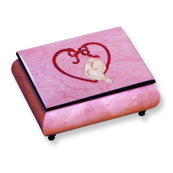 Versil Ercolano Pink Doves and Heart Inlay Music Box