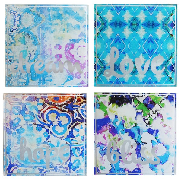 Tracy Porter Blue/Red/Pink Glass Square Coasters (Pack of 4) 19092589