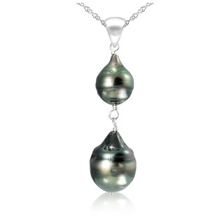 DaVonna 14k White Gold 8-12mm Black Off Shape Tahitian Cultured Pearl Pendant Necklace