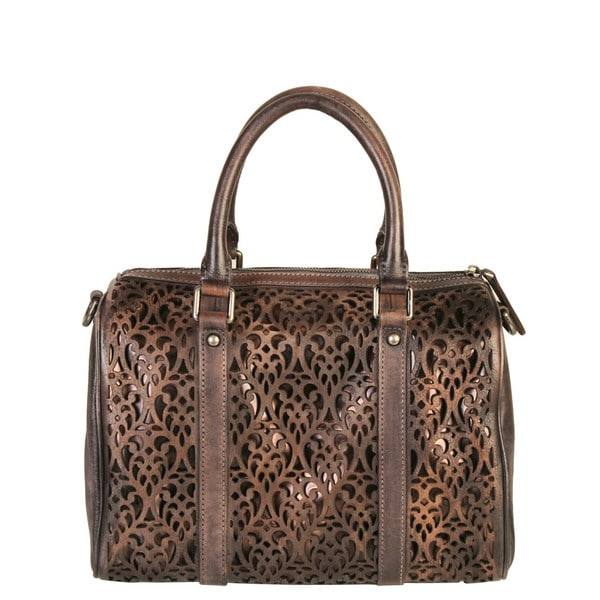 Diophy Genuine Leather Laser-cut Tote Handbag