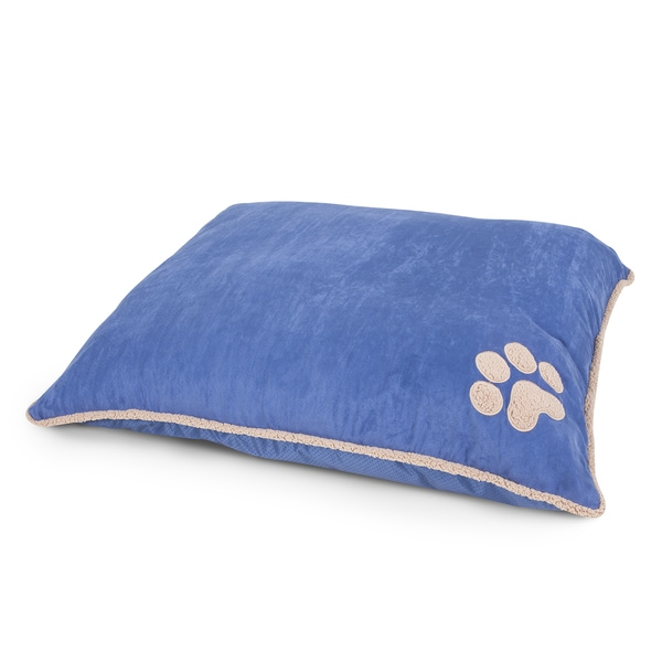 Aspen Pet Blue Polyester Shearling Knife-edge Pillow Dog Bed