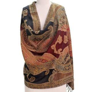 Handcrafted Wool 'Mughal Exuberance' Jamawar Shawl (India)