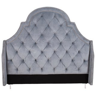 Iconic Home Napoleon Slate Blue Velvet Button-tufted With Silver Nailhead Trim Headboard