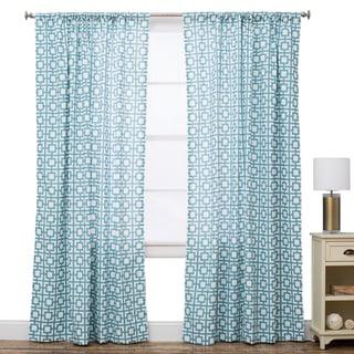 Geo Ocean Blue Cotton Window Panel