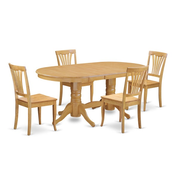 oak rubberwood dining oval table with leaf and 4 chairs 5