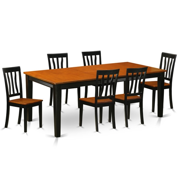 Black/Cherry Finish Rubberwood Dining Table with 6 Dining Chairs