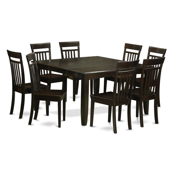 9-piece Cappuccino-brown Rubberwood Dining Room Set