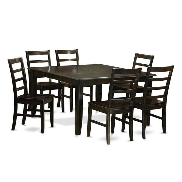 parf7 cap black rubberwood 7 piece formal dining room set