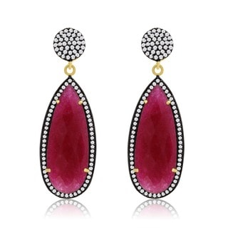 14k Yellow Gold Over Sterling Silver 32ct Pear Shape Ruby and Cubic Zirconia Dangle Earrings