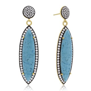 14k Yellow Gold Over Sterling Silver 56ct Marquise Shape Turquoise and Cubic Zirconia Dangle Earrings