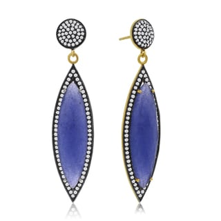 14k Yellow Gold Over Sterling Silver 56ct Marquise Shape Blue Sapphire and Cubic Zirconia Dangle Earrings