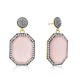 14k Yellow Gold Over Sterling Silver 79ct Octagon Shape Rose Quartz and Cubic Zirconia Dangle Earrings