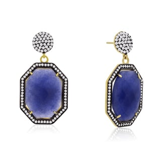 14k Yellow Gold Over Sterling Silver 79ct Octagon Shape Blue Sapphire and Cubic Zirconia Dangle Earrings