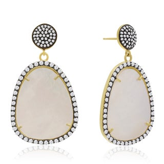 14k Yellow Gold Over Sterling Silver 86ct Free Form Mother of Pearl and Cubic Zirconia Dangle Earrings