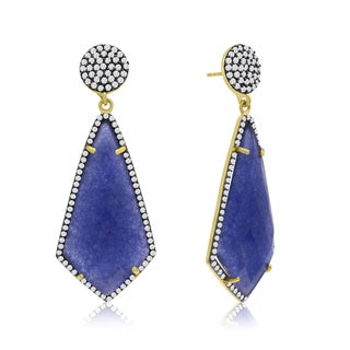 14k Yellow Gold Over Sterling Silver 45ct Diamond Shape Blue Sapphire and Cubic Zirconia Dangle Earrings