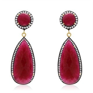 14k Yellow Gold Over Sterling Silver 64ct Pear Shape Ruby and Cubic Zirconia Halo Dangle Earrings