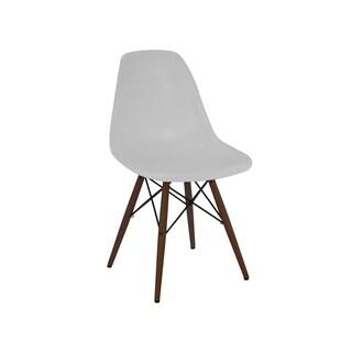 Trige Platinum White Polypropylene Chairs with Walnut Wood Base (Set of 2)