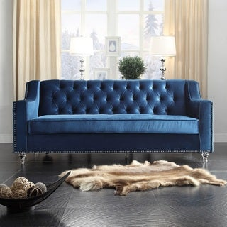 Iconic Home Dylan Velvet Button Tufted With Silver Nailhead Trim Round Acrylic Feet Sofa