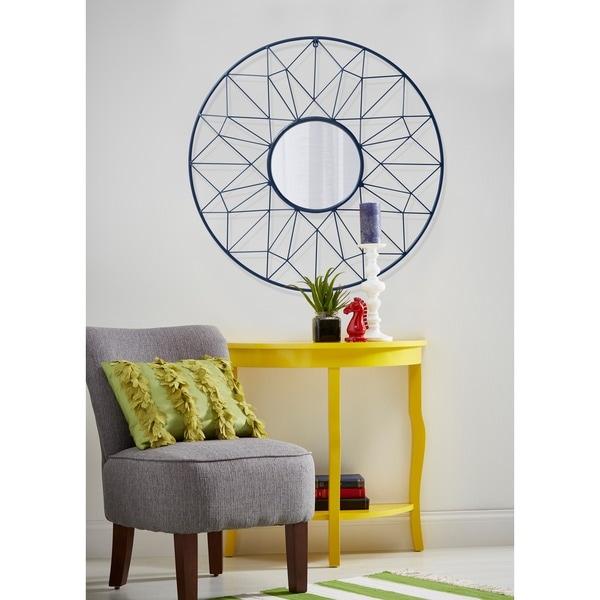 Round Metal Geometric Wall Mirror