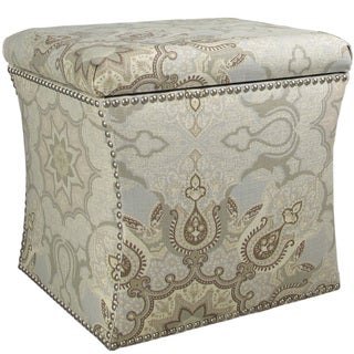Skyline Furniture Pewter Solid Pine Frame, Polyurethane and Polyester Fill Nail-button Storage Ottoman