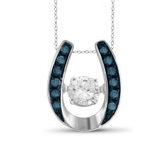 Jewelonfire 10k White Gold 1/5ct TDW Blue Diamond Horseshoe Pendant