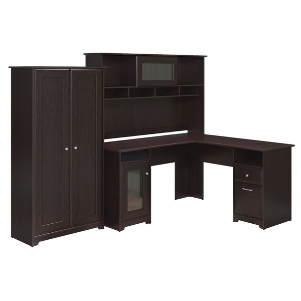 Cabot Collection 60W L Desk Hutch And 2 Door Tall Storage 18852672 . Cabot  House Furniture ...