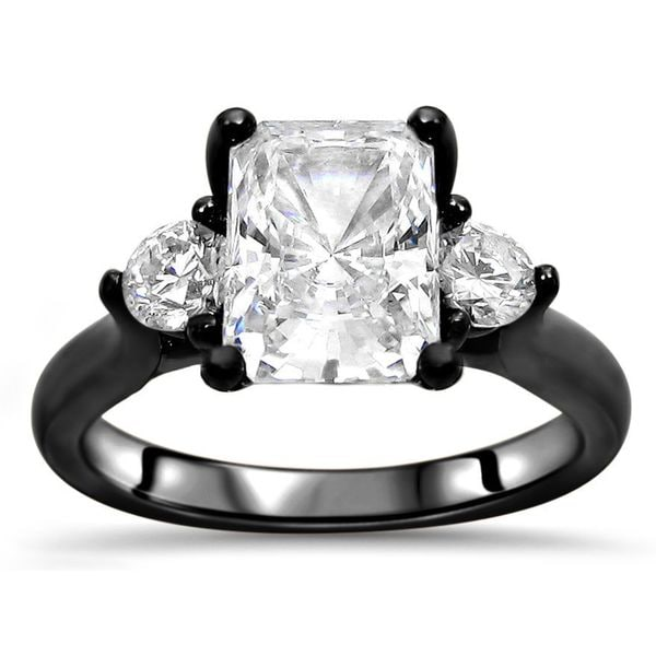 Noori Collection 14k Black Gold 2k TGW Radiant Cut Moissanite 3-stone Diamond Engagement Ring