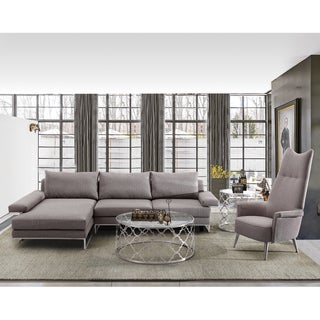Armen Living Venice Corner Grey Fabric/Stainless Steel Sofa Sectional