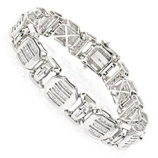 Luxurman 14k White Gold 7 1/2ct TDW Mens Bracelets Diamond Baguette Bracelet (H-I, SI1-SI2)