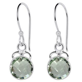Orchid Jewelry 3.20ct Genuine Green Amethyst Sterling Silver Earring