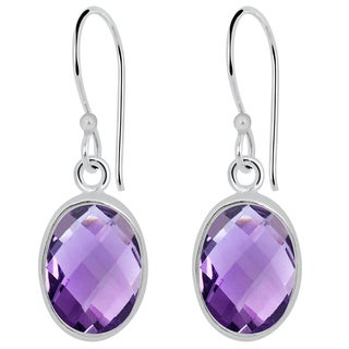 Orchid Jewelry 9.50ct Genuine Amethyst Sterling Silver Earring