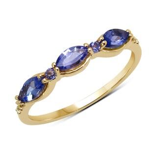 Malaika 14k Yellow Gold 1/2ct TGW Tanzanite and White Diamond Ring