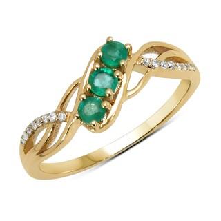 Malaika 14k Yellow Gold 1/3ct TGW Zambian Emerald and White Diamond Ring
