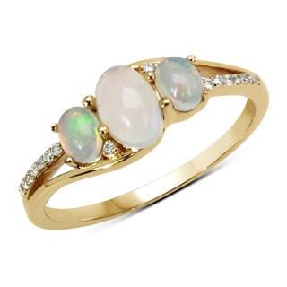 Malaika 14k Yellow Gold 3/5ct TGW Ethiopian Opal and White Diamond Ring