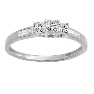 10k Gold 1/2ct TDW Princess-cut Diamond 3-stone Bridal Engagement Ring (H-I, I1-I2)
