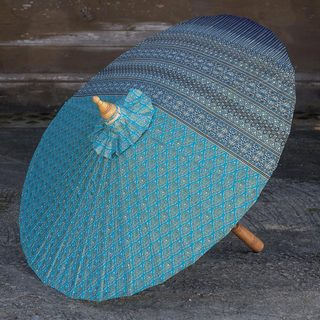 Handcrafted Cotton 'Blue Thai Empress' Parasol (Thailand)