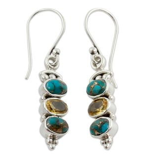 Sterling Silver 'Golden Mystique' Citrine Turquoise Earrings (India)