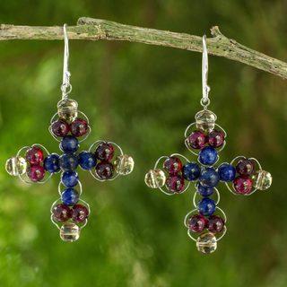 Handcrafted Silver 'Precious Cross' Multigemstone Earrings (Thailand)