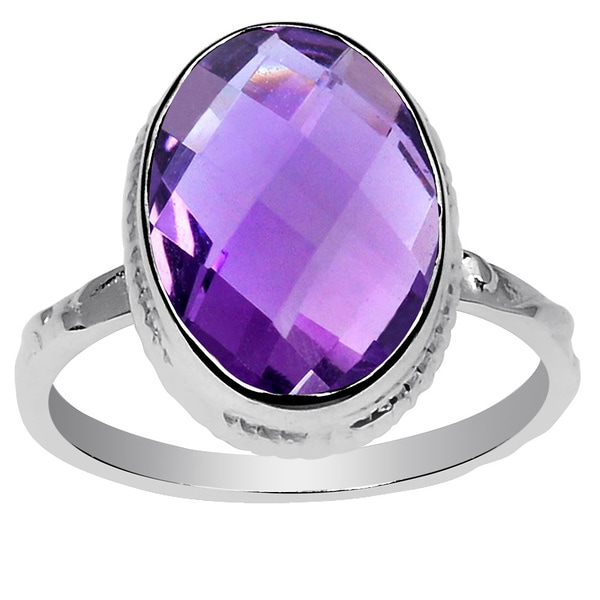 Orchid Jewelry 925 Sterling Silver 4 3/4ct. Genuine Amethyst Birthstone Ring 19098759