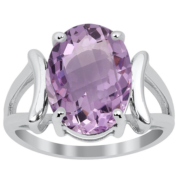 Orchid Jewelry Sterling Silver 4 3/4ct Amethyst Ring 19098883
