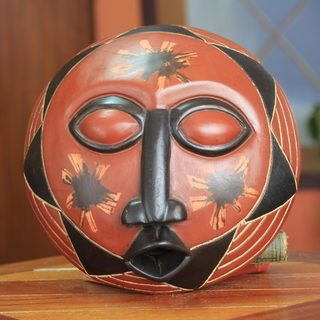 Handcrafted Sese Wood 'Happy Sun' Mask (Ghana)