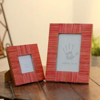 Set of 2 Indian Elm Wood 'Romantic Delhi' Photo Frames (India)